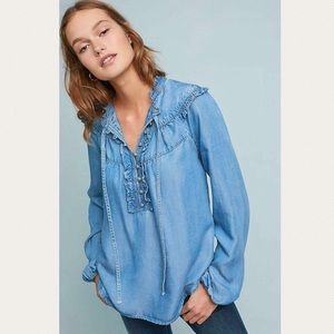 Anthropologie | Maeve Chambray Tie Neck Top
